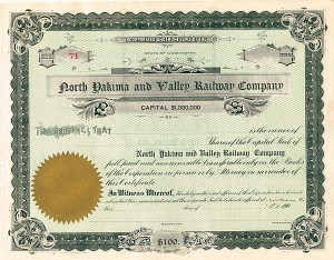 North Yakima and Valley Railway Company - Stock Certificate