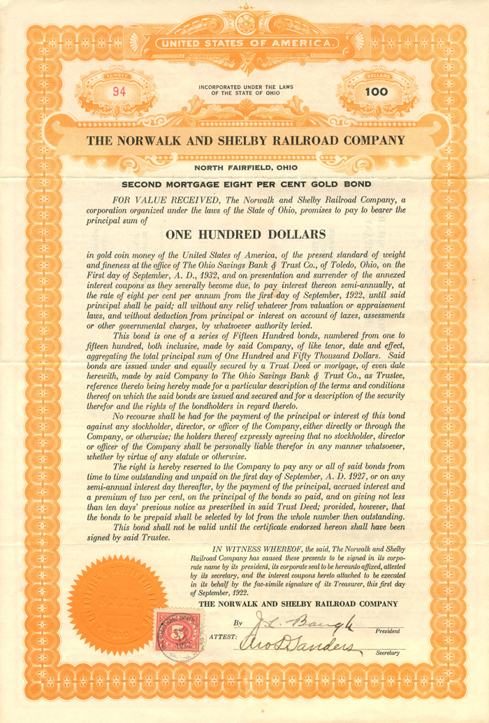 Norwalk and Shelby Railroad Company $100 Bond - SOLD