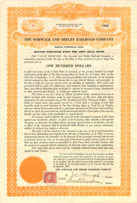Norwalk and Shelby Railroad Company $100 Bond