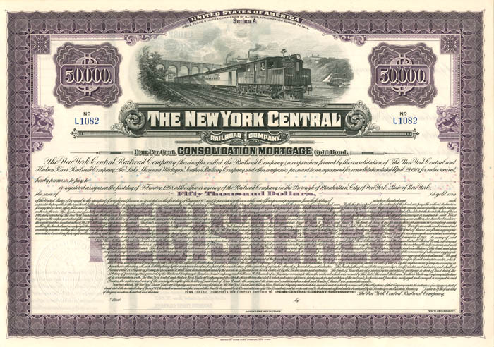 New York Central Railroad Company - $50,000 - Bond
