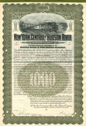 New York Central and Hudson River $1000 Bond