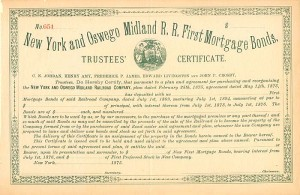 New York and Oswego Midland Railroad Company Trustees' Certificate