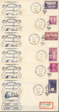 6 Different Stamps on NY World's Fair envelopes