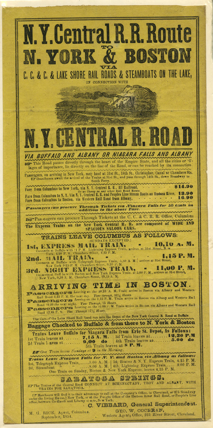 N.Y. Central Railroad Broadside - SOLD