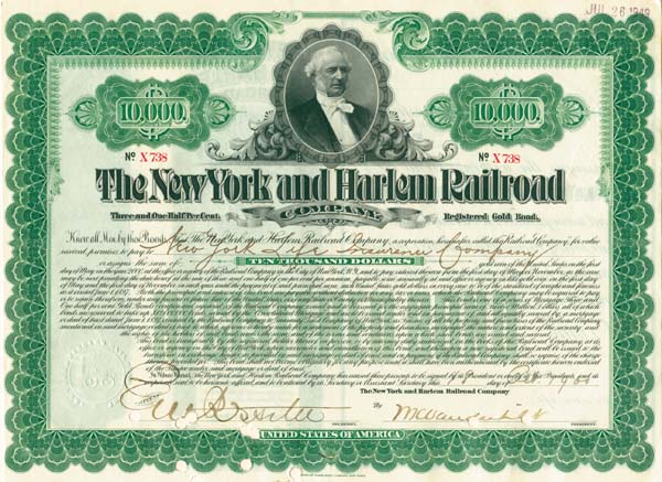 New York and Harlem Railroad Company $10,000 Bond signed by William Kissam Vanderbilt
