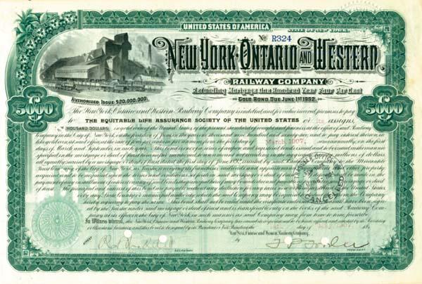 New York, Ontario & Western Railway Company - $5,000 Bond