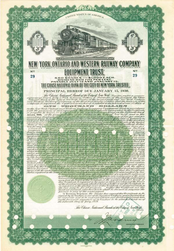 New York, Ontario & Western Railway Equipement Trust Company - Bond
