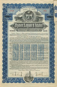 Ogden, Logan & Idaho Railway Company - $1,000 - SOLD