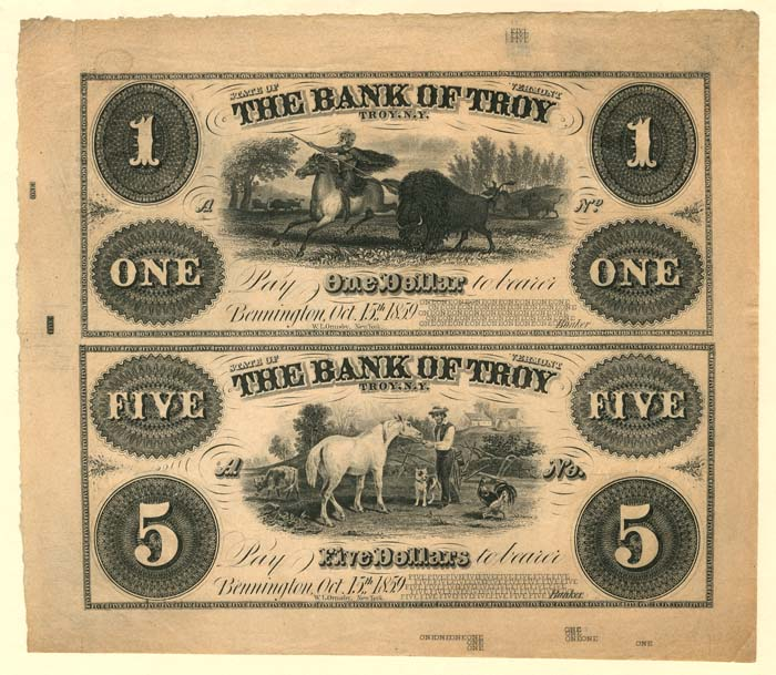 Bank of Troy - Uncut Obsolete Sheet - Broken Bank Notes - SOLD