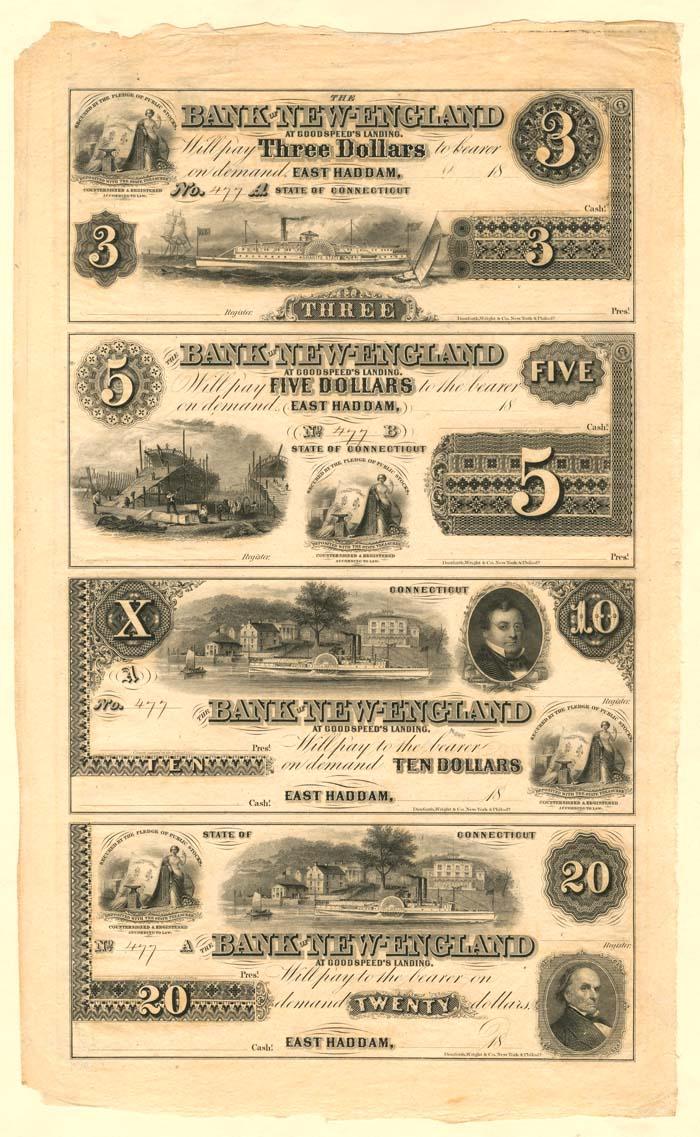 Bank of New England - Uncut Obsolete Sheet - Broken Bank Notes
