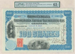 Anthony N Brady - Ohio & Indiana Consolidated Natural & Illuminating Gas Co - Stock Certificate