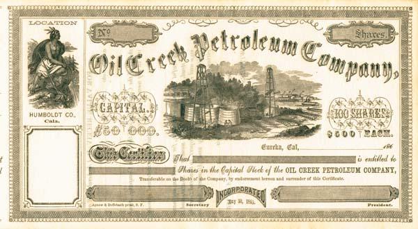 Oil Creek Petroleum Company - Stock Certificate