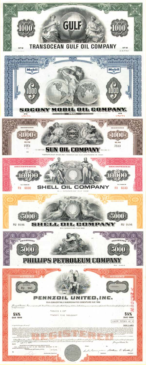 Collection of 7 Oil Bonds
