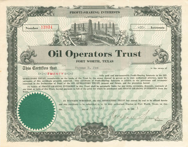 Oil Operators Trust - Stock Certificate