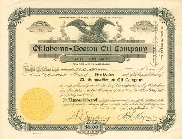 Oklahoma-Boston Oil Co - Stock Certificate