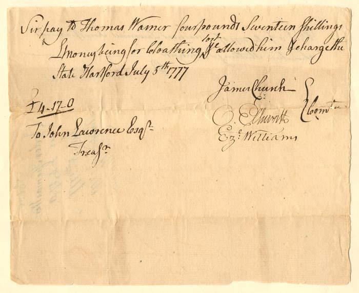 Oliver Ellsworth signed document - SOLD