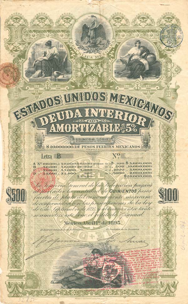 """Green Lady or Green Diamond"" Estados Unidos Mexicanos - PRICE ON REQUEST"