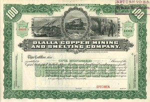 Olalla Copper Mining and Smelting Company - SOLD