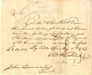Pay Table Document Signed by Oliver Wolcott Jr. & Oliver Ellsworth