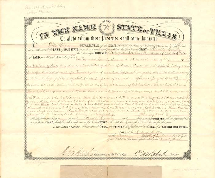 Land Grant signed by O.M. Roberts as Governor - SOLD