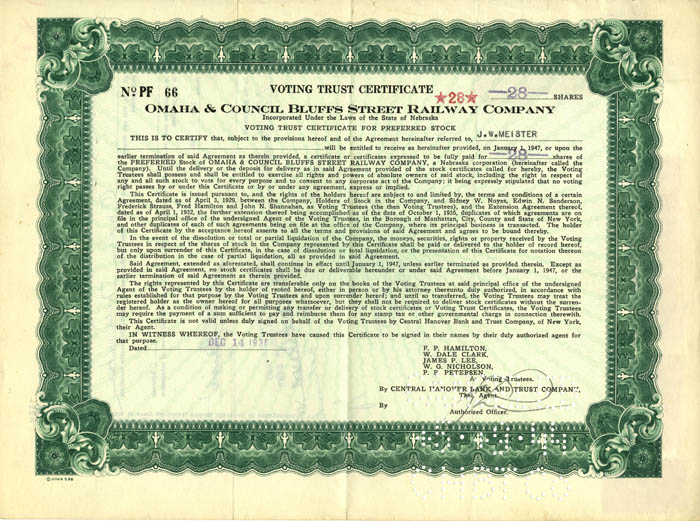 Omaha & Council Bluffs Street Railway Company - Voting Trust Certificate