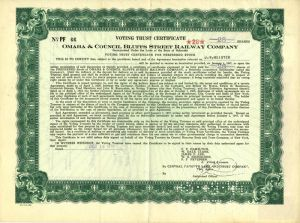 Omaha & Council Bluffs Street Railway Company - Voting Trust Certificate - Stock Certificate - SOLD