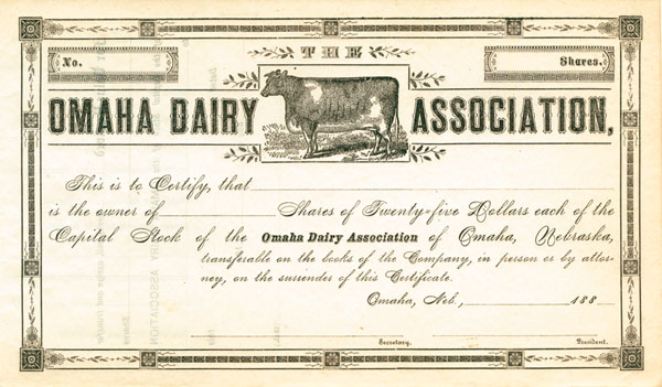 Omaha Dairy Association - Stock Certificate