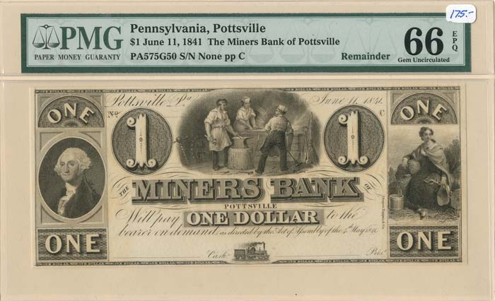 Miners Bank - Obsolete Bank Note - SOLD