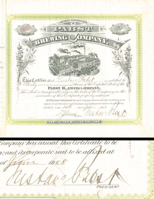 Gustave Pabst - Pabst Brewing Co - Stock Certificate