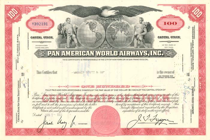 Pan American World Airways, Incorporated - Stock Certificate