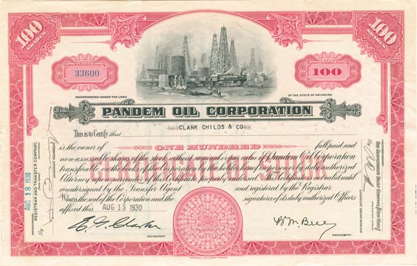 Pandem Oil Corporation - Stock Certificate