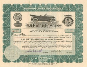 Pan Motor Company signed by Samuel Pandolfo - Stock Certificate