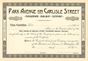 Park Avenue and Carlisle Street Passenger Railway Company - SOLD