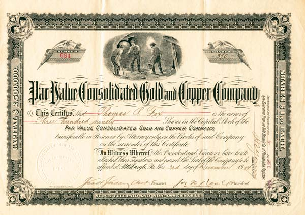 Par Value Consolidated Gold & Copper Company