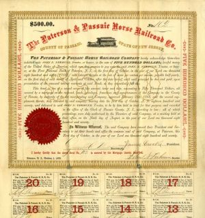Paterson and Passaic Horse Railroad Bond