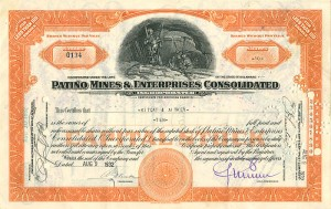 Patino Mines & Enterprises Consolidated signed by member of Patino family