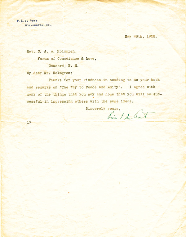 Pierre S. Du Pont Letter - TLS - Typed Letter Signed
