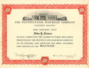 Pennsylvania Railroad Company Eastern Region