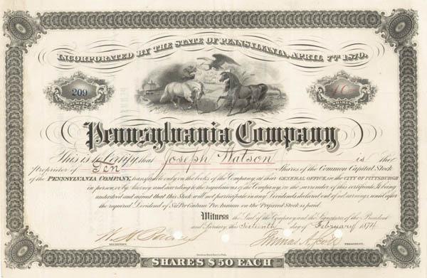 Thomas A. Scott - Pennsylvania Co. - Stock Certificate