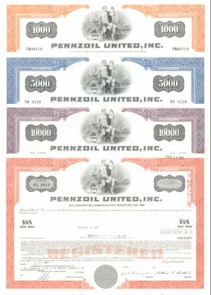 Pennzoil United, Inc - Group of 4 Bonds - SOLD