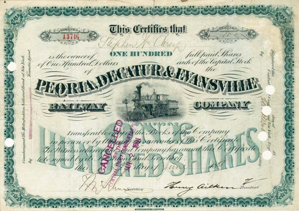 James Stillman autographed Peoria, Decatur & Evansville Railway - Stock Certificate