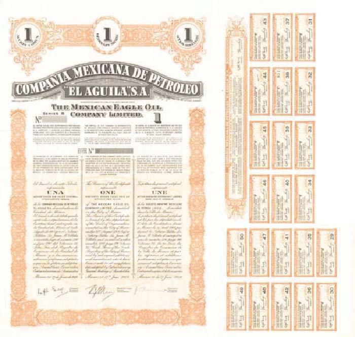 Compania Mexicana de Petroleo 'El Aguila', S.A. - Stock Certificate