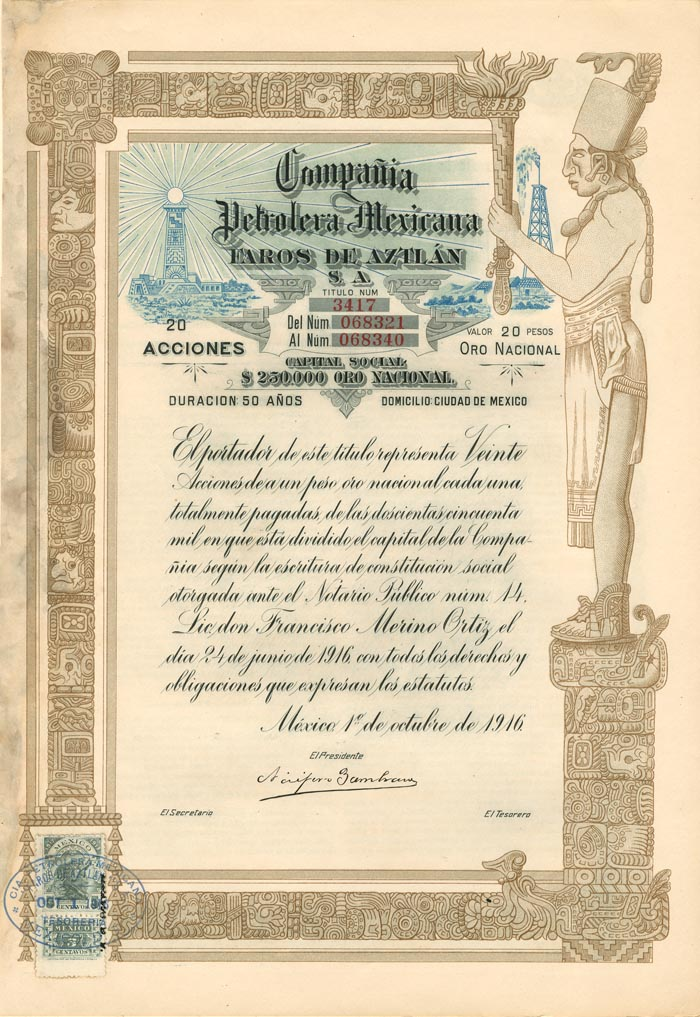 Compania Petrolera Mexicana - Beautiful Stock Certificate