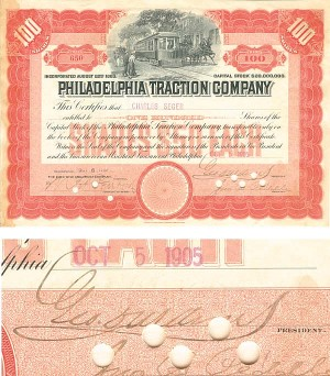 Philadelphia Traction Company signed by George D. Widener
