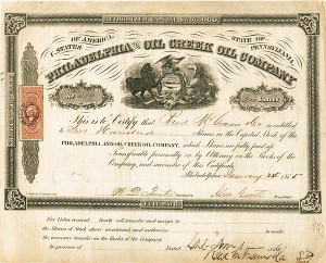 Philadelphia & Oil Creek Oil Company - Stock Certificate
