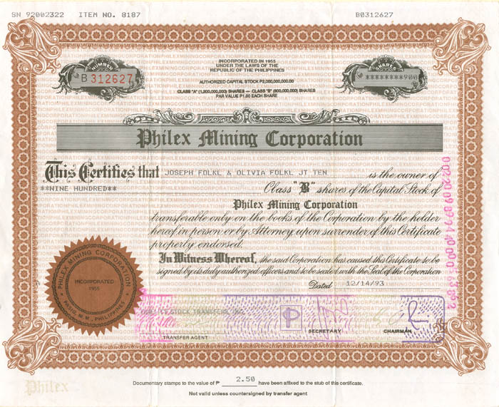 Philex Mining Corporation - Stock Certificate