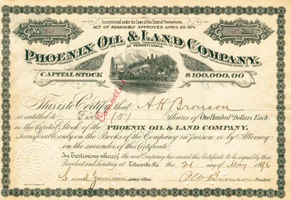 Phoenix Oil & Land Company of Pennsylvania - Stock Certificate