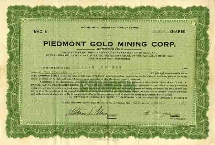 Piedmont Gold Mining Corp.