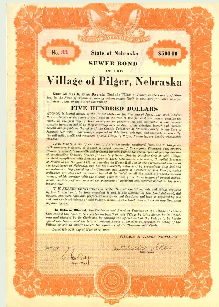 Sewer Bond of the Village of Pilger, Nebraska