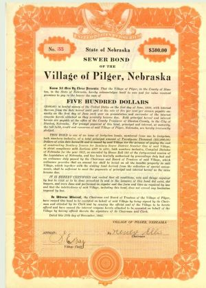 Sewer Bond of the Village of Pilger, Nebraska
